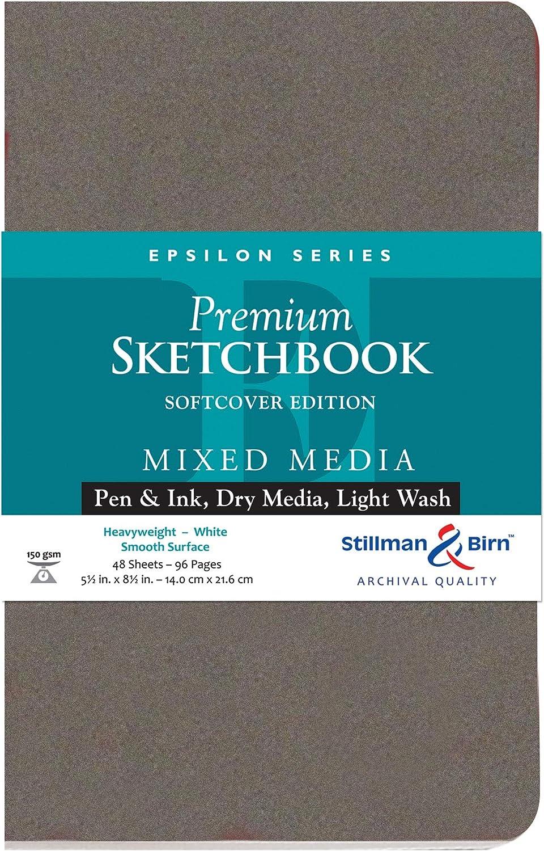150 GSM Smooth Surface Stillman /& Birn Epsilon Series Softcover Sketchbook Heavyweight 5.5 x 8.5 White Paper