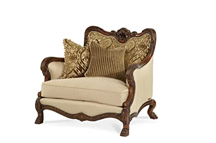 Admirable Michael Amini Chateau Beauvais Wood Trim Chair And A Half Noble Bark Cjindustries Chair Design For Home Cjindustriesco