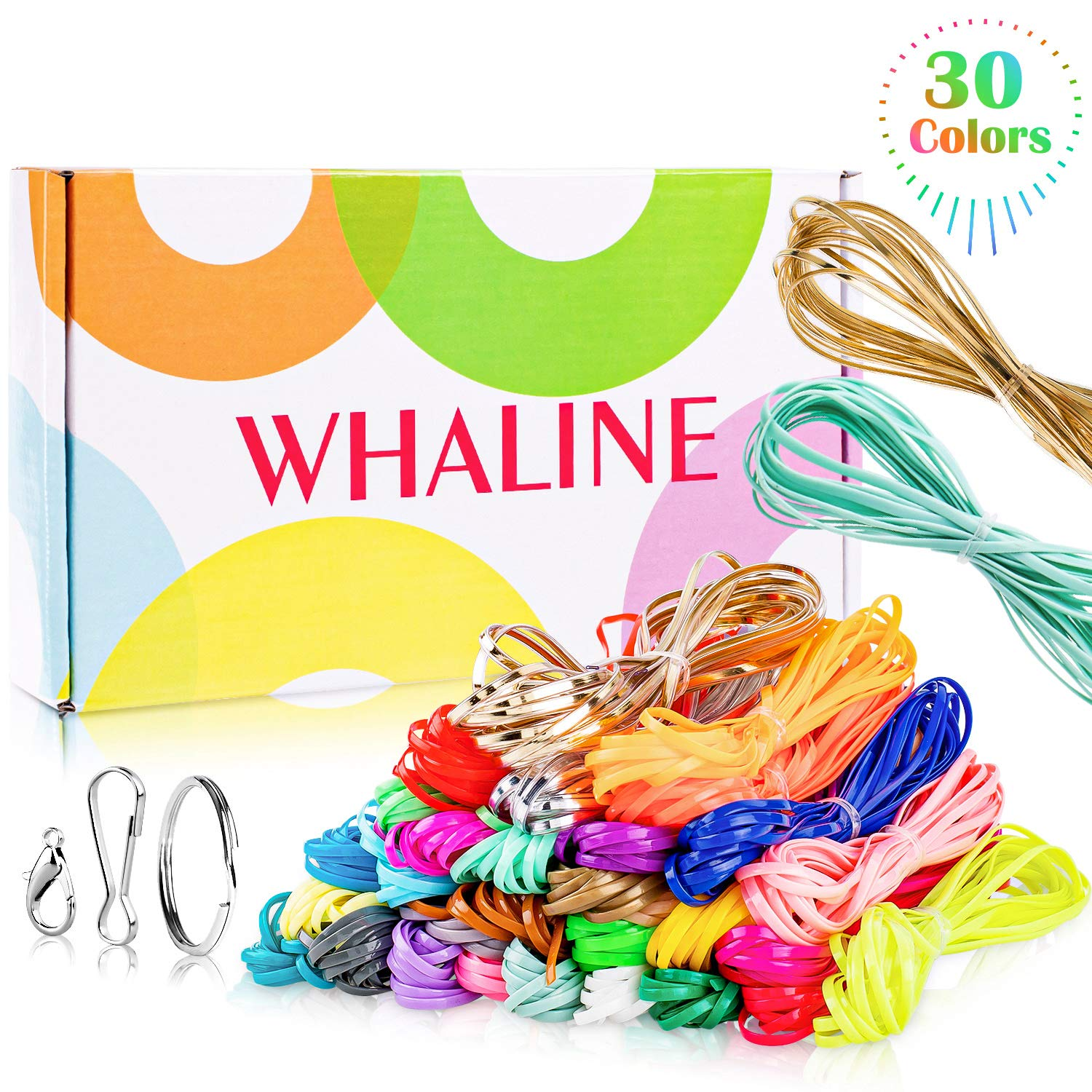 Whaline 30 Colors Plastic Lacing Cords with 20 Keychain Clips 20 Hooks and 10 Clasps, Gimp Bracelet Making Scoubidou Strings with Box for DIY Craft Jewelry Making (492 feet) by Whaline