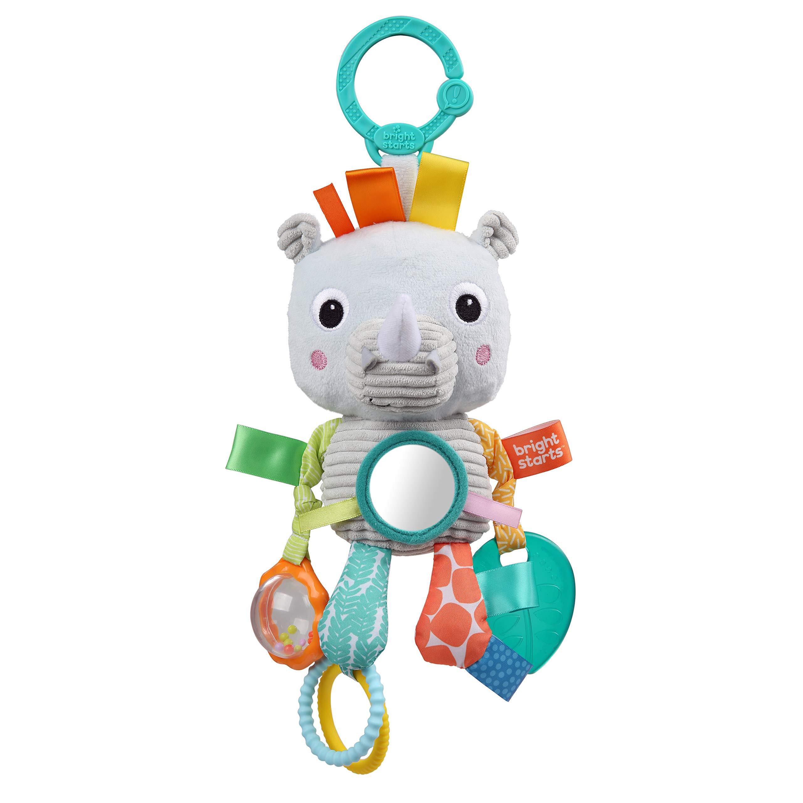 Bright Starts Playful Pals Activity Take-Along Toy, Rhino, Newborn +