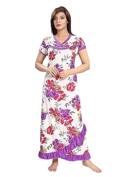 TUCUTE Women s Beautiful Floral Print   Bottom Cross Frill Nighty  Nightdress Night Gown 997e8c745