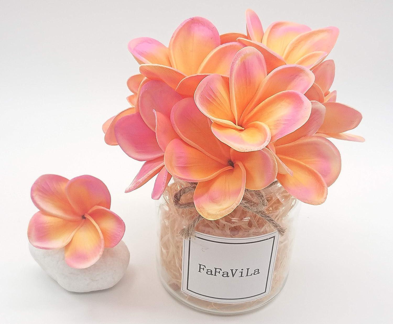 本物そっくりの造花 12個のPUのリアルなタッチの造花 プルメリア フランジパニ フラワー ウェディング ホームパーティー ブーケ デコレーション B07FLDTFJC Pink&orange