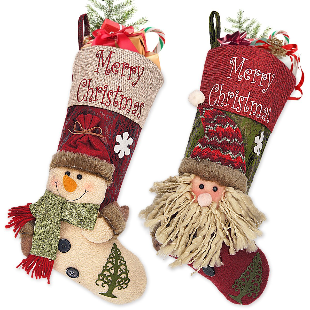 (3d Snow Man/Santa) - Ivenf 2 Pack 46cm Plush 3D Classic Large Christmas Stockings Christmas Party Decoration  3d Snow Man/Santa B017IGSOCO