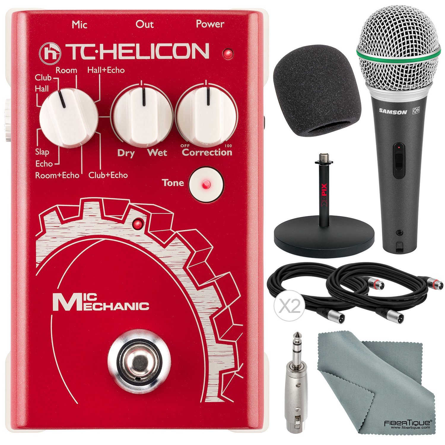 TC-Helicon Mic Mechanic Vocal Effects Toolbox Floor Pedal and Deluxe Bundle w/ Q6 Microphone + Xpix Mic Stand + Adapter + Cable + Fibertique Cloth + More