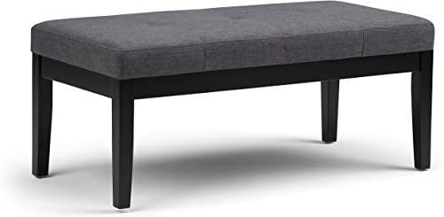SIMPLIHOME Lacey 43 inch Wide Rectangle Ottoman Bench Slate Grey Tufted Footrest Stool