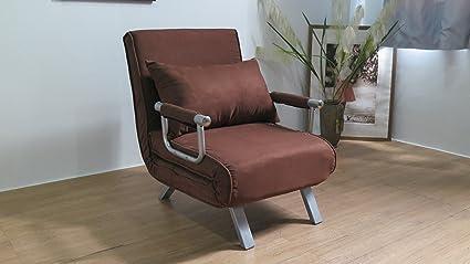 ITALFROM - Sofá cama de 1 plaza (67 x 69 x 83 cm) color marrón