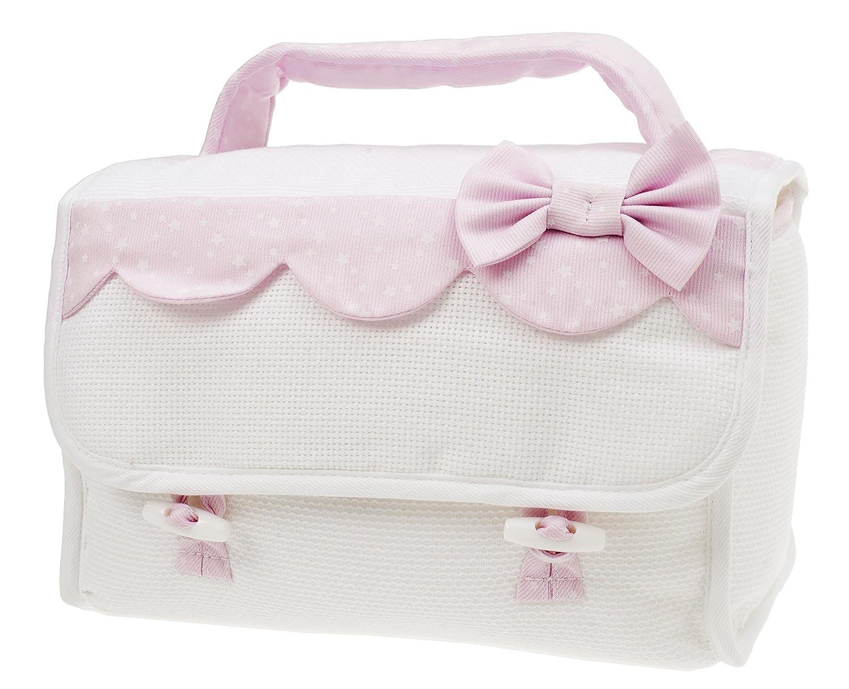 Juego de s/ábanas para cochecitos de beb/é con detalles en tejido Sangallo rosa