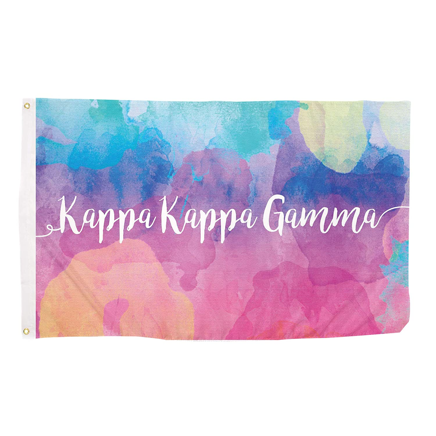 ca7d4387 Amazon.com : Kappa Kappa Gamma Water Color Sorority Flag Greek Letter Use  as a Banner Large 3 x 5 Feet Sign Decor kkg : Garden & Outdoor
