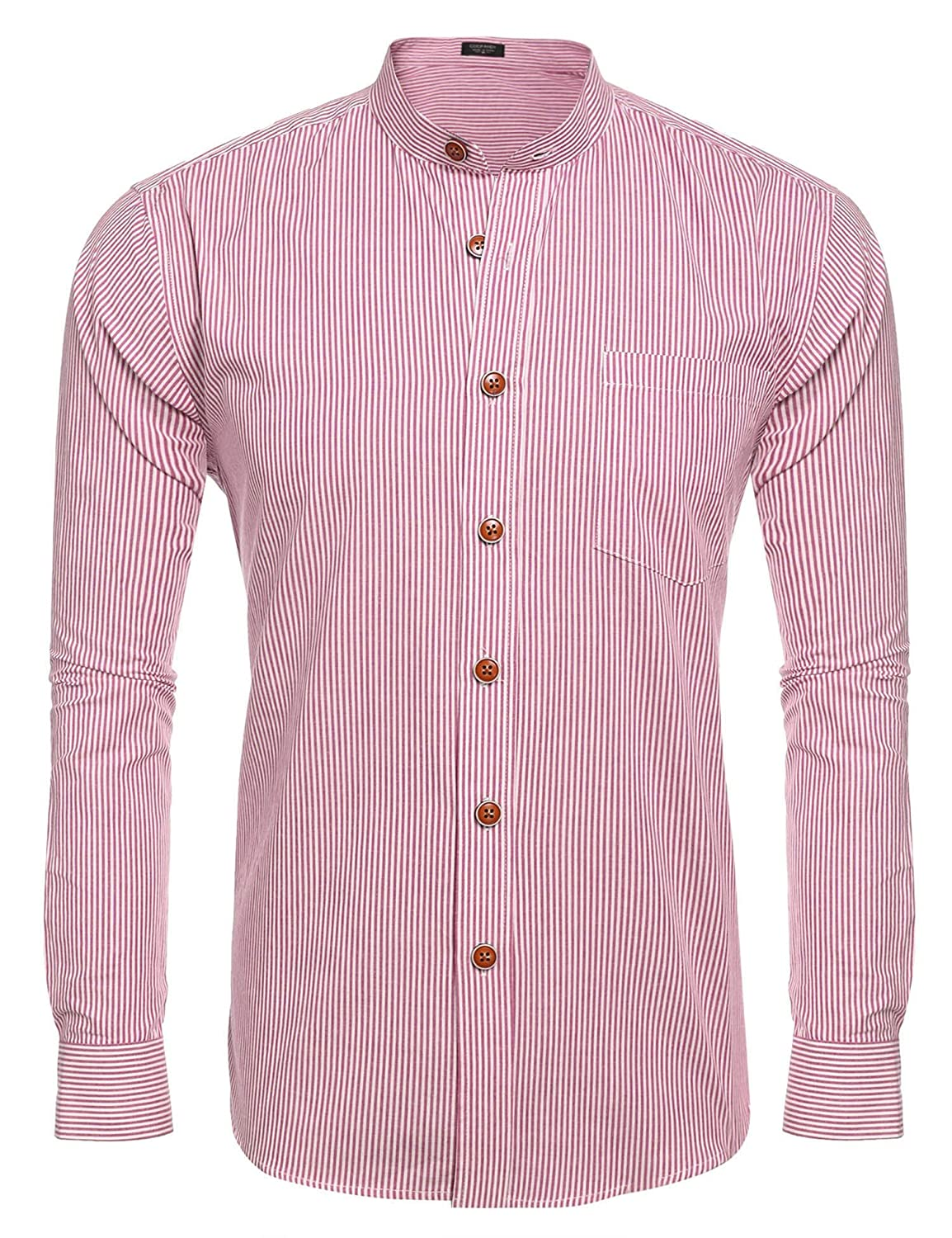 COOFANDY Men's Striped Slim Fit Banded Collar Shirt 16380810