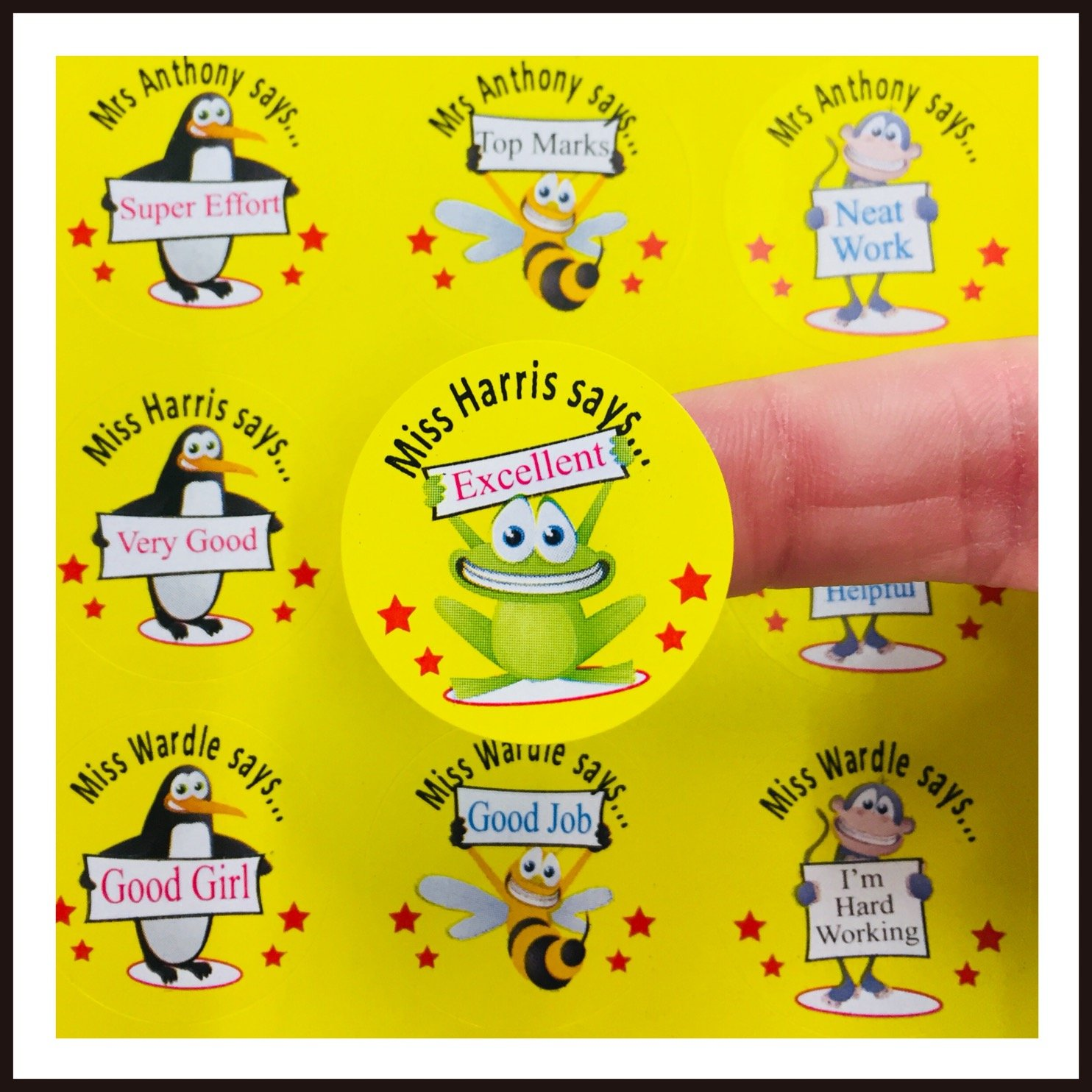Reward stickers labels for teachers or parents personalised x 108 add your name to the stickers to make them extra special a big encouragement for your