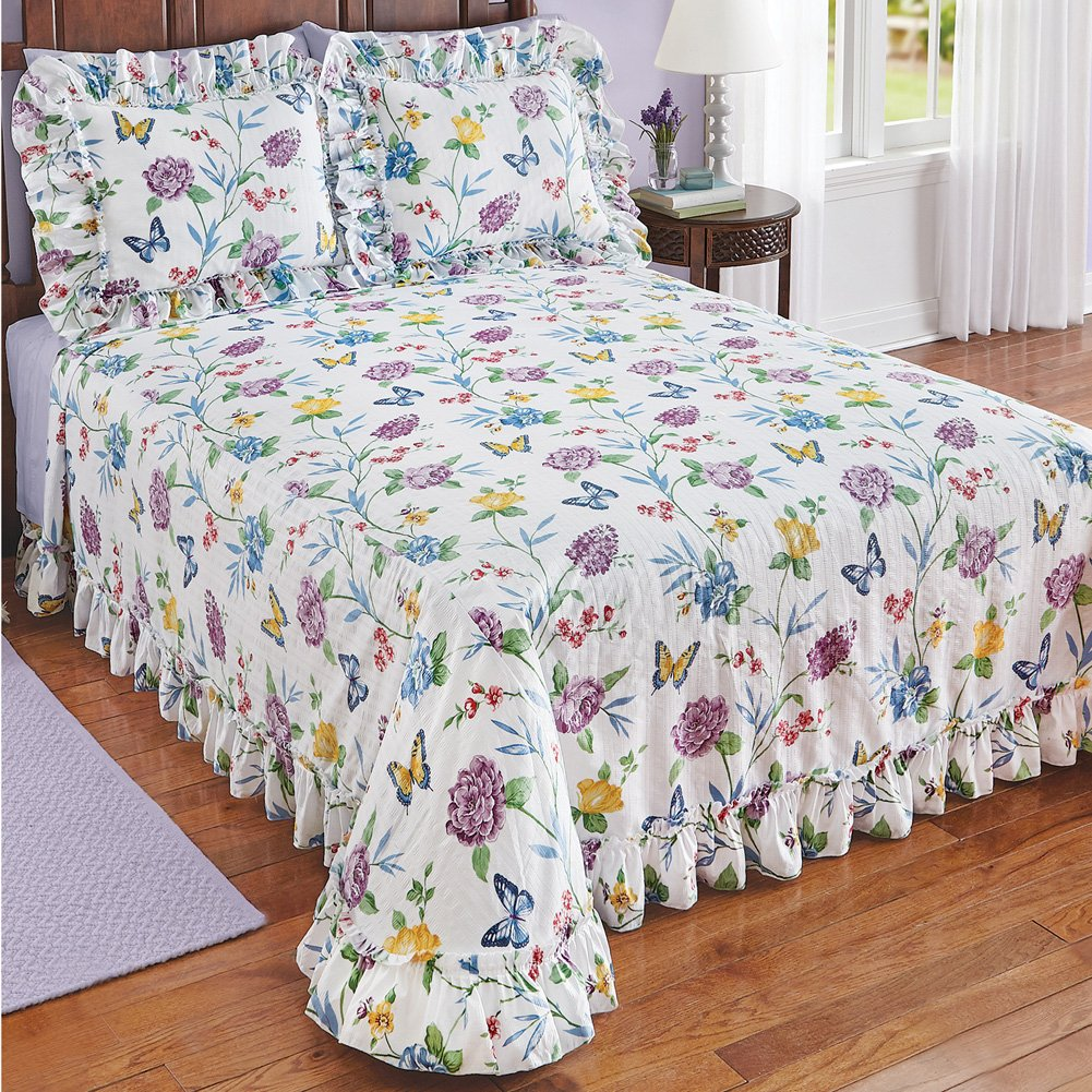 Collections Butterfly Joy Floral Lightweight Plissé Summer Cotton Ruffle Bedspread, King by Collections (Image #2)