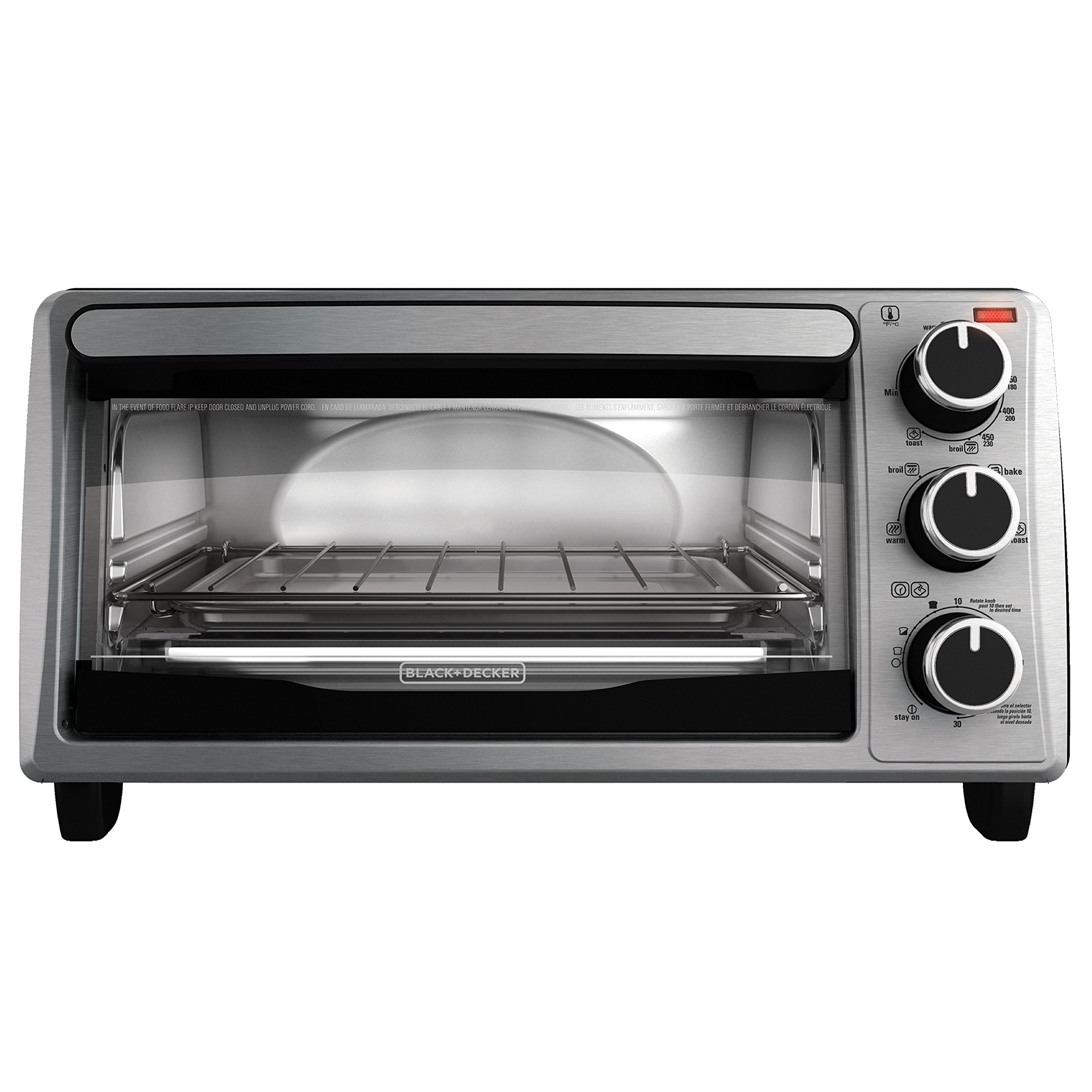 BLACK+DECKER 4-Slice Toaster Oven, Stainless Steel, TO1303SB, 14.5 x 8.8 x 10.8 inches ; 7.5 pounds, Black by BLACK+DECKER