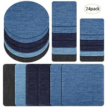 24 parches vaqueros para vaqueros y pantalones vaqueros, para reparación de ropa, 6 colores, 4 tamaños por color