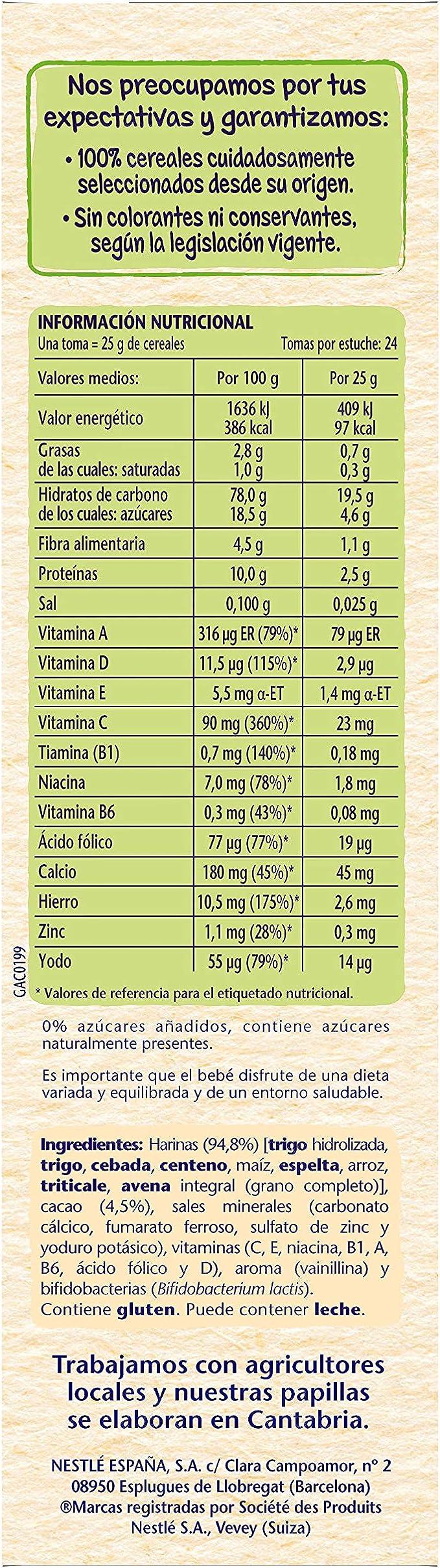 NESTLÉ Papilla 8 Cereales con Cacao - Alimento Para bebés ...