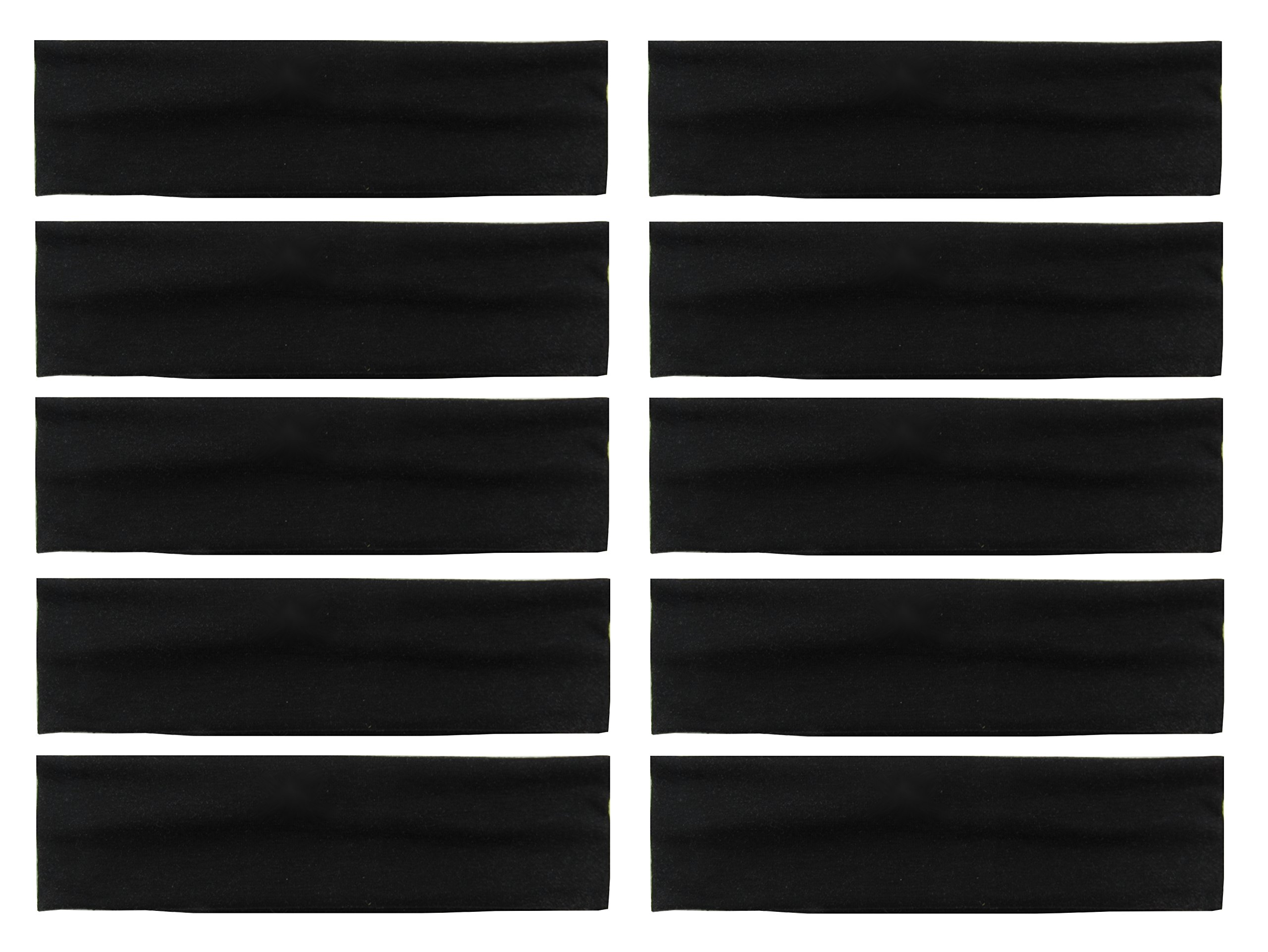 Styla Hair 10 Pack Yoga Headbands - Elastic Cotton Multi-Function Sports Head Bands Stretchy Wraps (Black)