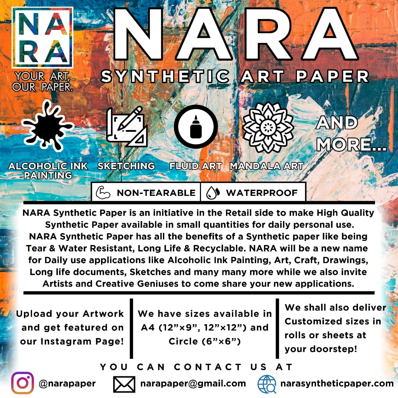 NARA SYNTHETIC PAPER for Alcohol Ink PAINTING-14.3mil(12''x12'')) by NARA Synthetic Paper