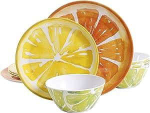 Gibson Home Sunny Citrus Round Melamine Dinnerware Set, Service for Four (12pcs)