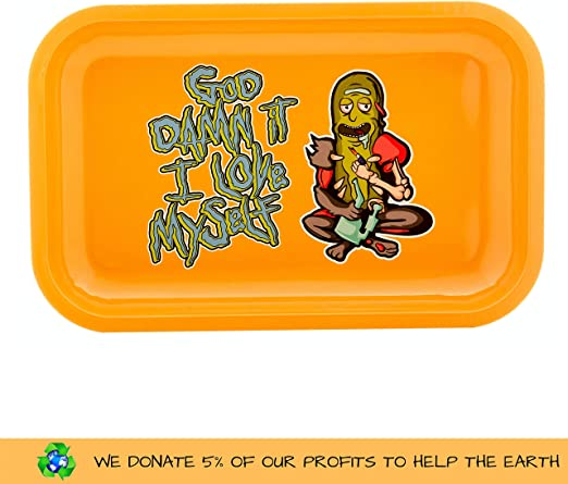 THE BOAT Kit para Fumar - Bandeja para Liar Rick and Morty Love Myself 27,5cm x 17,5cm + Raw Papel de Liar Kings Size (2 Unidades) + Grinder metálico 4 Partes con