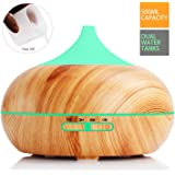 500ml Essential Oil Diffuser with 2 Water Tanks, MOSPRO Wood Grain 7 Color LEDs Waterless Auto Shut-Off 12H Continuous Humidifying, Free Measuring Cup Included