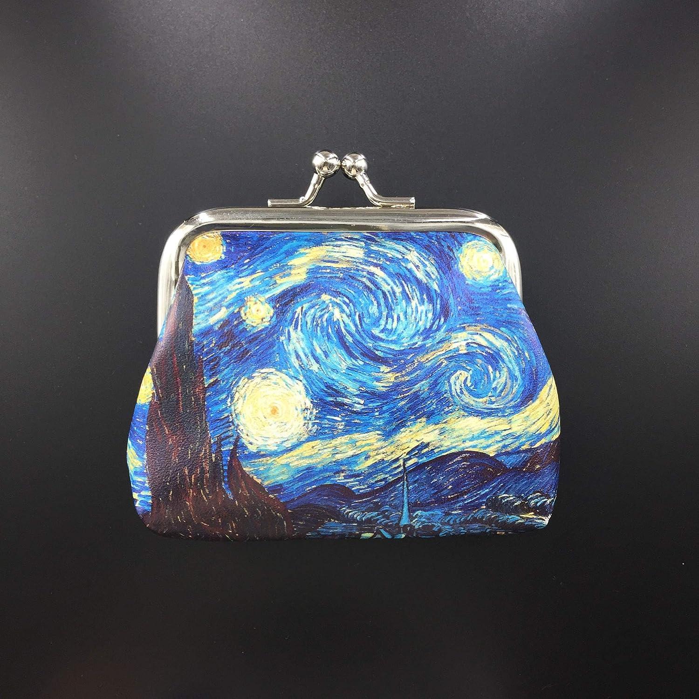 Ogquaton R/étro Impression Portefeuilles Fille Hasp Porte-monnaie Femmes Mini Pochette Sac Dargent Mer Bleu 1 /Él/égant et Populaire