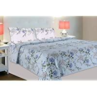haus & kinder Victorian Summer Dream, 100% Cotton, 186 Thread Count, Double Bedsheet with 2 Pillow Covers