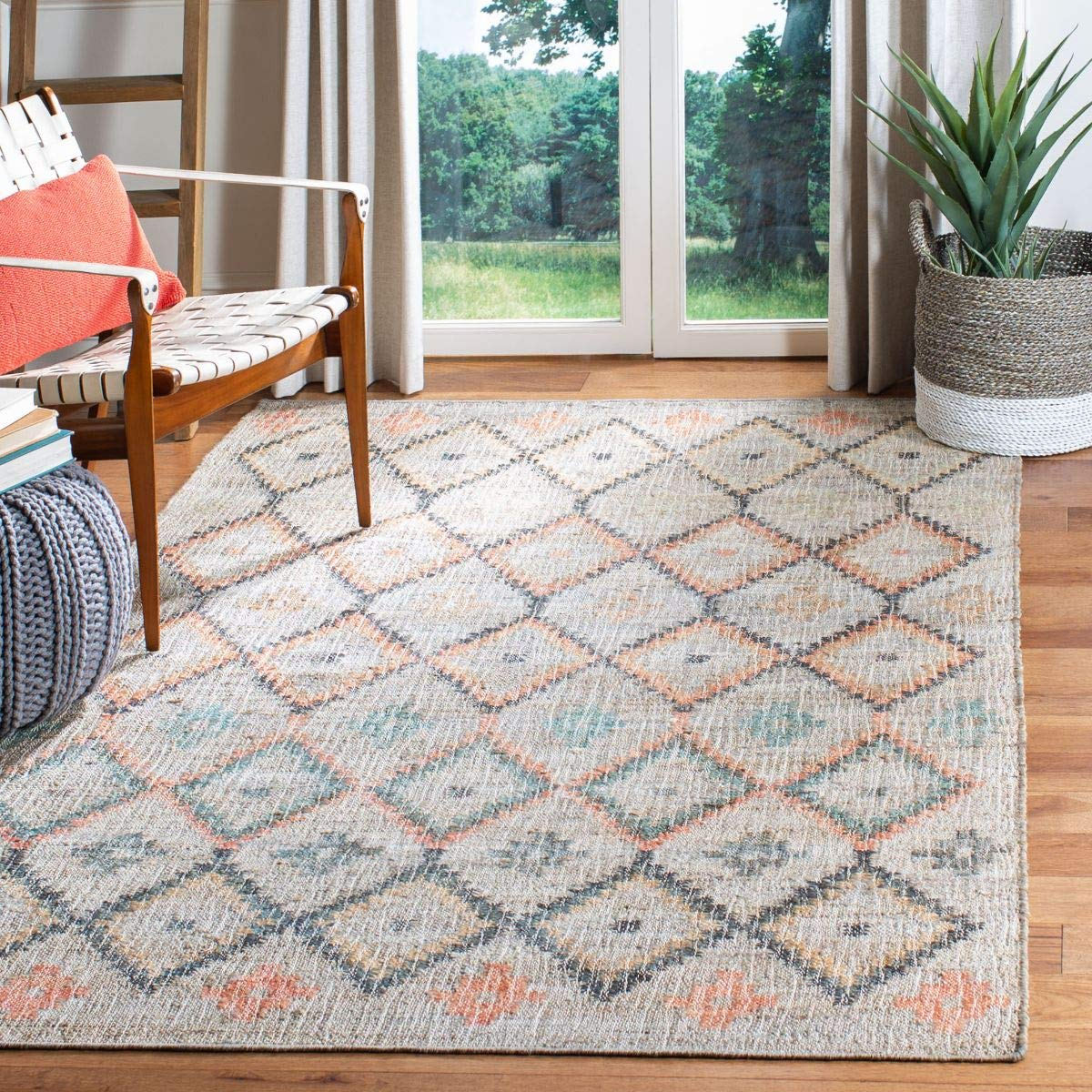 Safavieh Kilim Collection KLM753G Hand-Woven Moroccan Boho Jute and Cotton Runner, 3' x 5', Beige/Gold