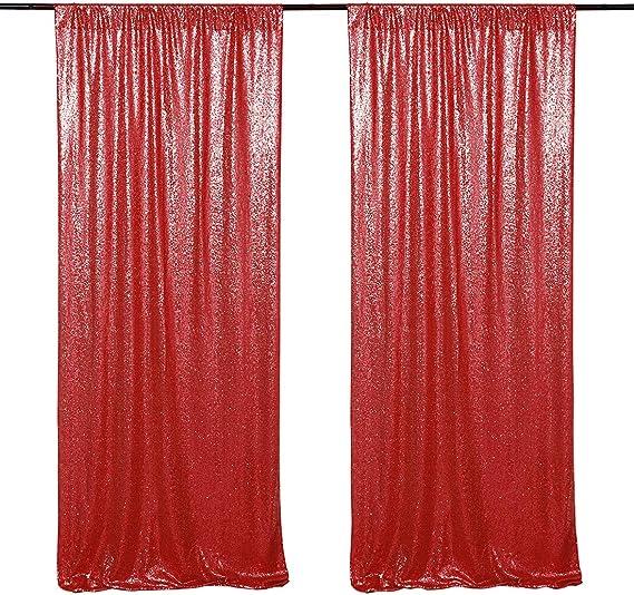 Weihnachts Dekortaion Hintergrundvorhang 2 Paneele 60 X 240 Cm Pailletten Hintergrund Rot Für Feiertage Partys