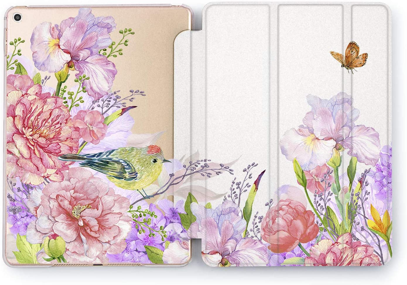 Wonder Wild Case Compatible with Apple iPad Flower Bird Mini 1 2 3 4 Air 2 Pro 10.5 12.9 Tablet 11 10.2 9.7 inch Cover Stand Pink Peony Cute Flower Pretty Sweet Beautiful Roses Butterfly Gentle Art