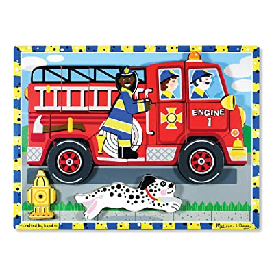 Melissa & Doug Deluxe Fire Truck Chunky Puzzle: Melissa & Doug: Toys & Games