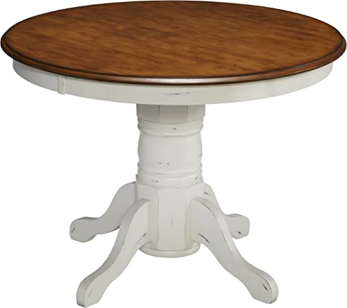 French Countryside Oak White 42 Round Pedestal Table by Home Styles