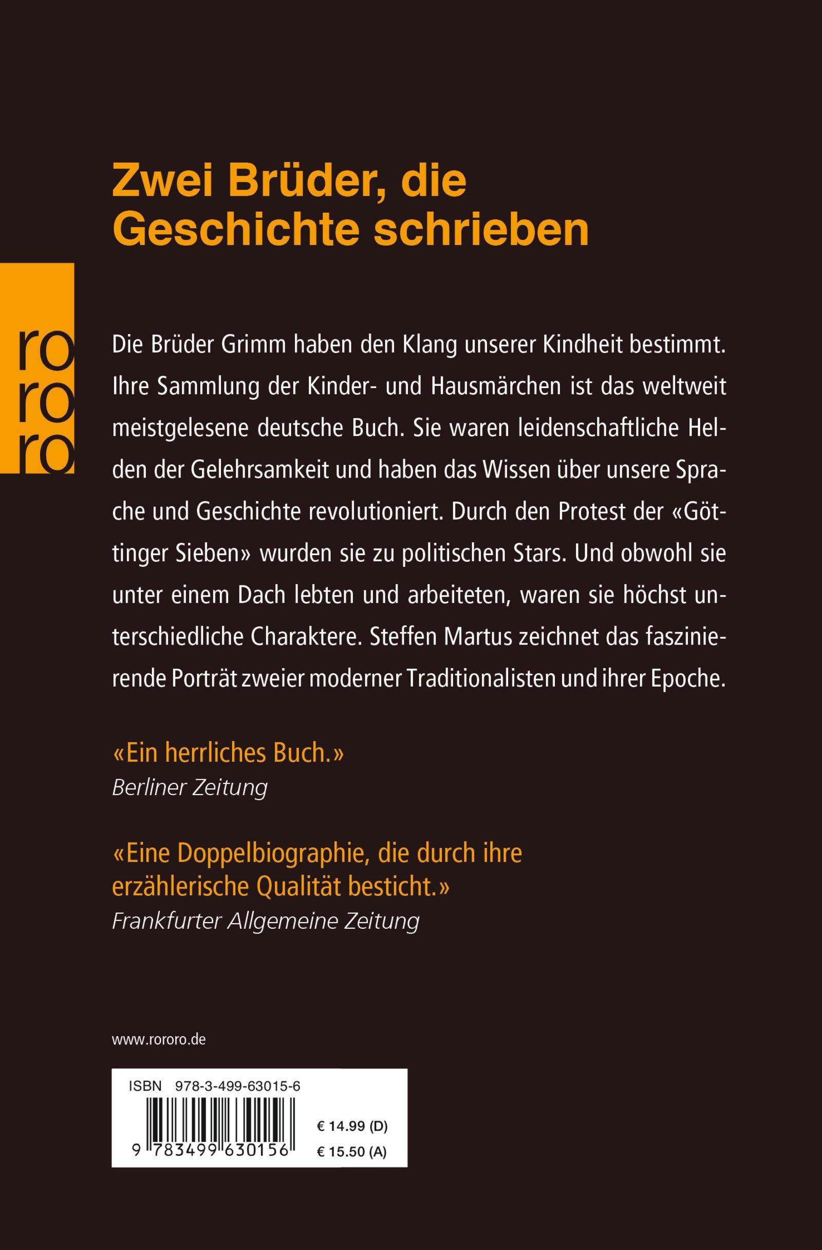 die brder grimm eine biographie rowohlt monographie amazonde steffen martus bcher - Gebrder Grimm Lebenslauf