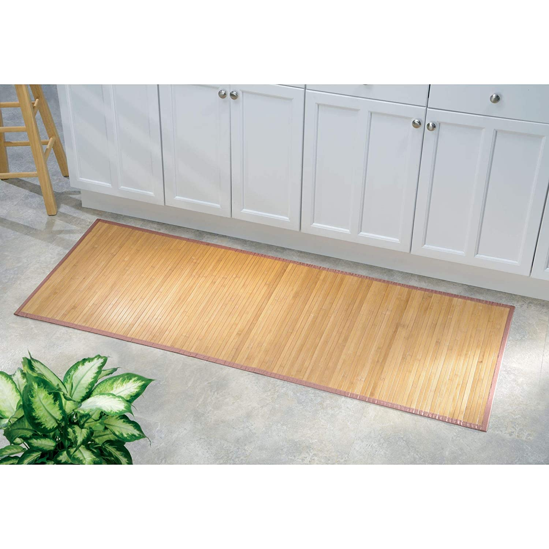 hellbraun iDesign Fu/ßmatte rutschfest extra langer Duschvorleger aus Bambus wasserabweisender L/äufer f/ür Badezimmer und Toilette