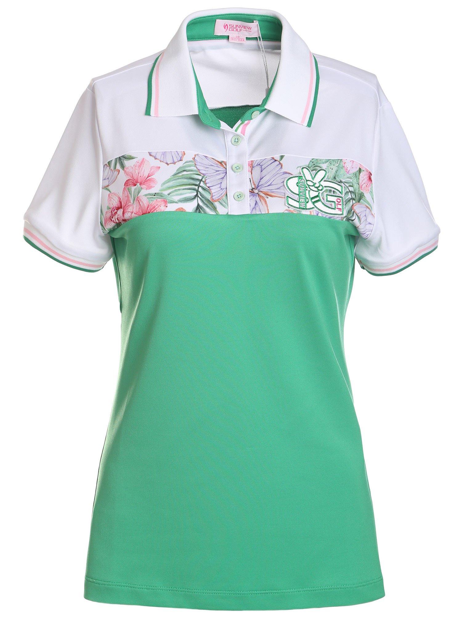 SunviewGolf Women's Floral Print Polo Golf Shirt Summer Short Sleeve Casual Shirt Top S