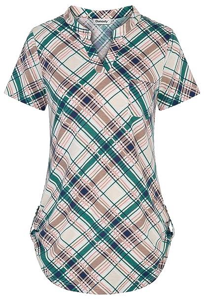 Amazon.com: Ouncuty - Blusa de manga corta para mujer ...
