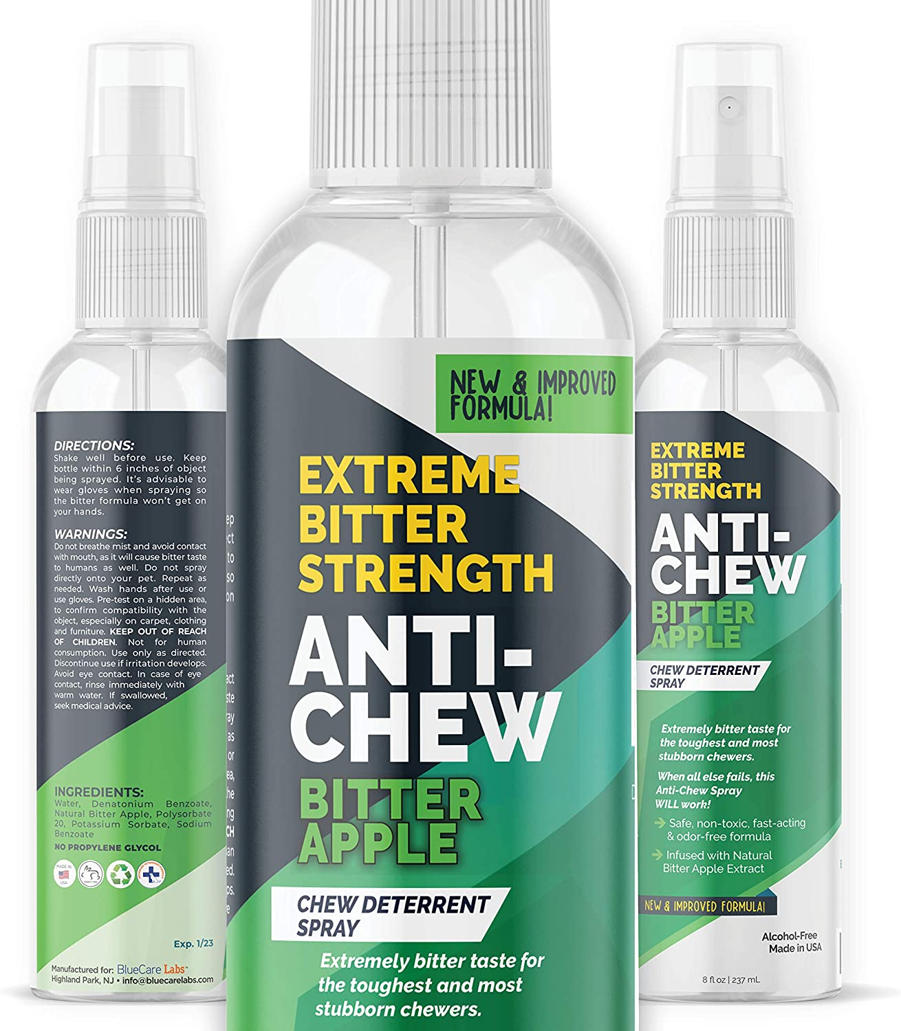 Bitter Apple Spray for Dogs to Stop Chewing Furniture & Household Items 5X Strength NO CHEW Spray - Natural, Alcohol Free & Non Toxic | Effective Anti Chew Deterrent Spray for Dogs | Made in USA 8oz.