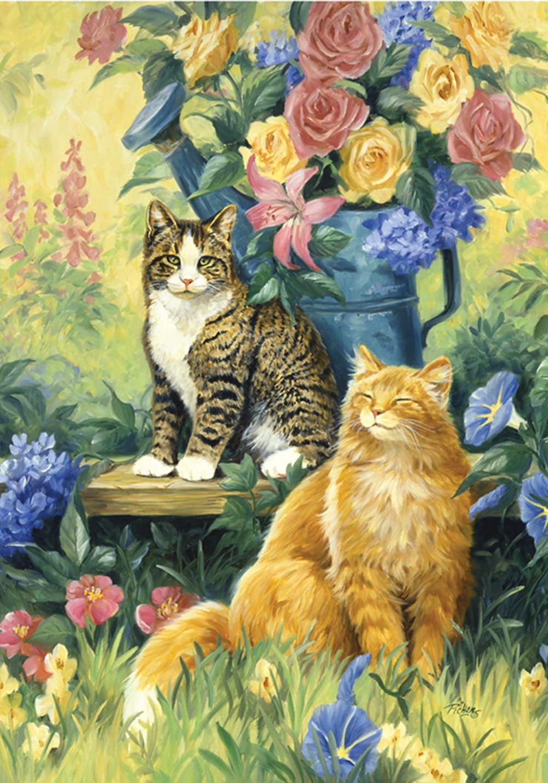 Toland Home Garden Feline Sunshine 28 x 40 Inch Decorative Spring Summer Flower Kitty Cat House Flag