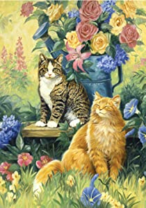Toland Home Garden Feline Sunshine 28 x 40 Inch Decorative Spring Summer Flower Kitty Cat House Flag
