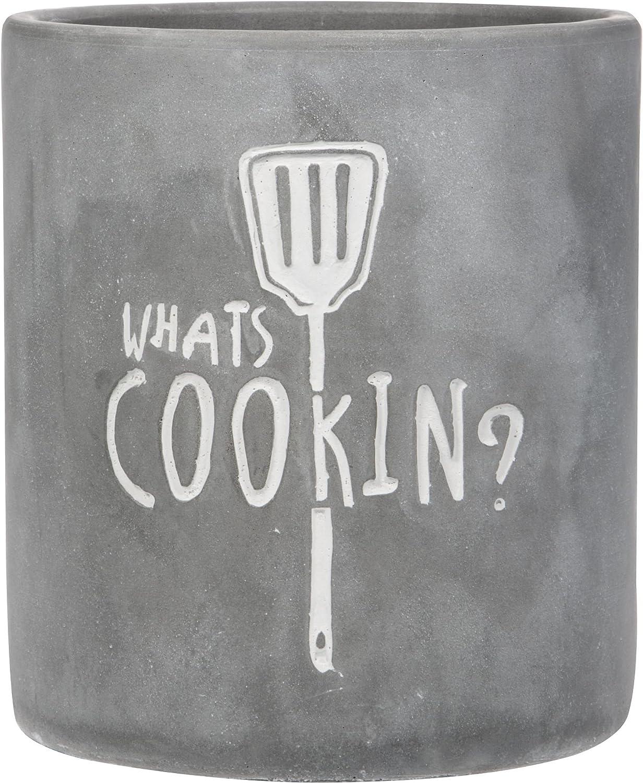 "Home Essentials Round Modern Concrete Gray Utensils Crock ""Whats Cooking"""