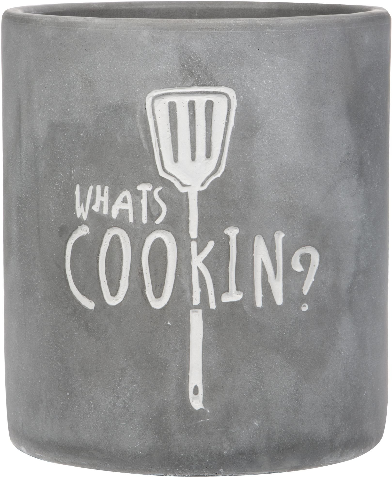 Home Essentials Round Modern Concrete Gray Utensils Crock ''Whats Cooking'' by Home Essentials