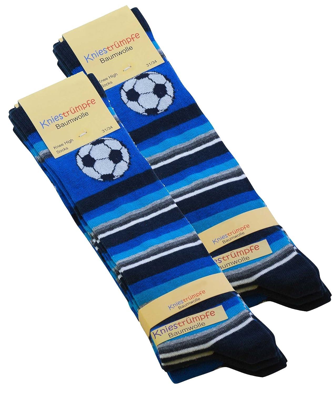 6 Pairs of Children's Knee-High Socks Football patterned