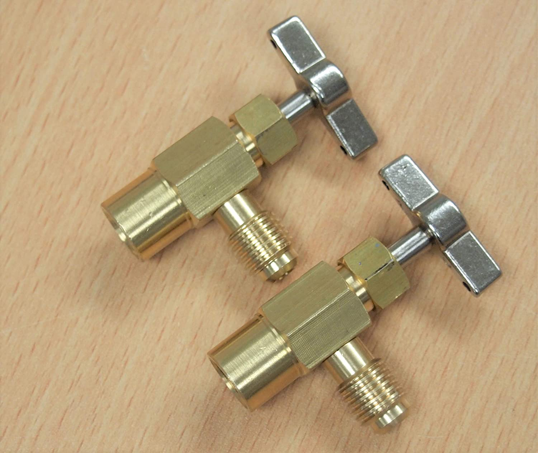 hoteche 2PC Self-Sealing R1234yf A//C Can Tap 1//2 Acme LH Tapper Dispensing Valve Refrigerant