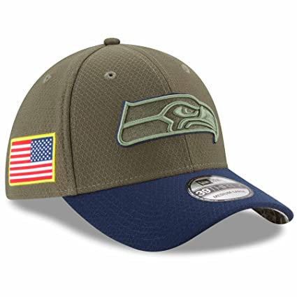 987054b61ab Seattle Seahawks New Era NFL 39THIRTY 2017 Sideline  quot Salute to  Service quot  Hat