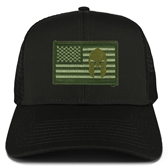 891132d8 Armycrew Olive USA American Flag Spartan Logo Embroidered Patch Snapback Mesh  Trucker Cap - Black