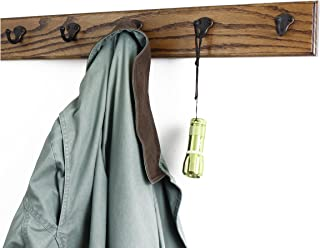 """product image for Oak Coat Rack with Aged Bronze Single Style Hooks (Walnut, 25.5"""" x 3.5"""" with 5 hooks)"""