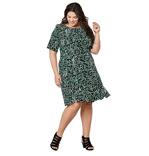Avenue Women\'s Green Dot Fit and Flare Dress at Amazon ...