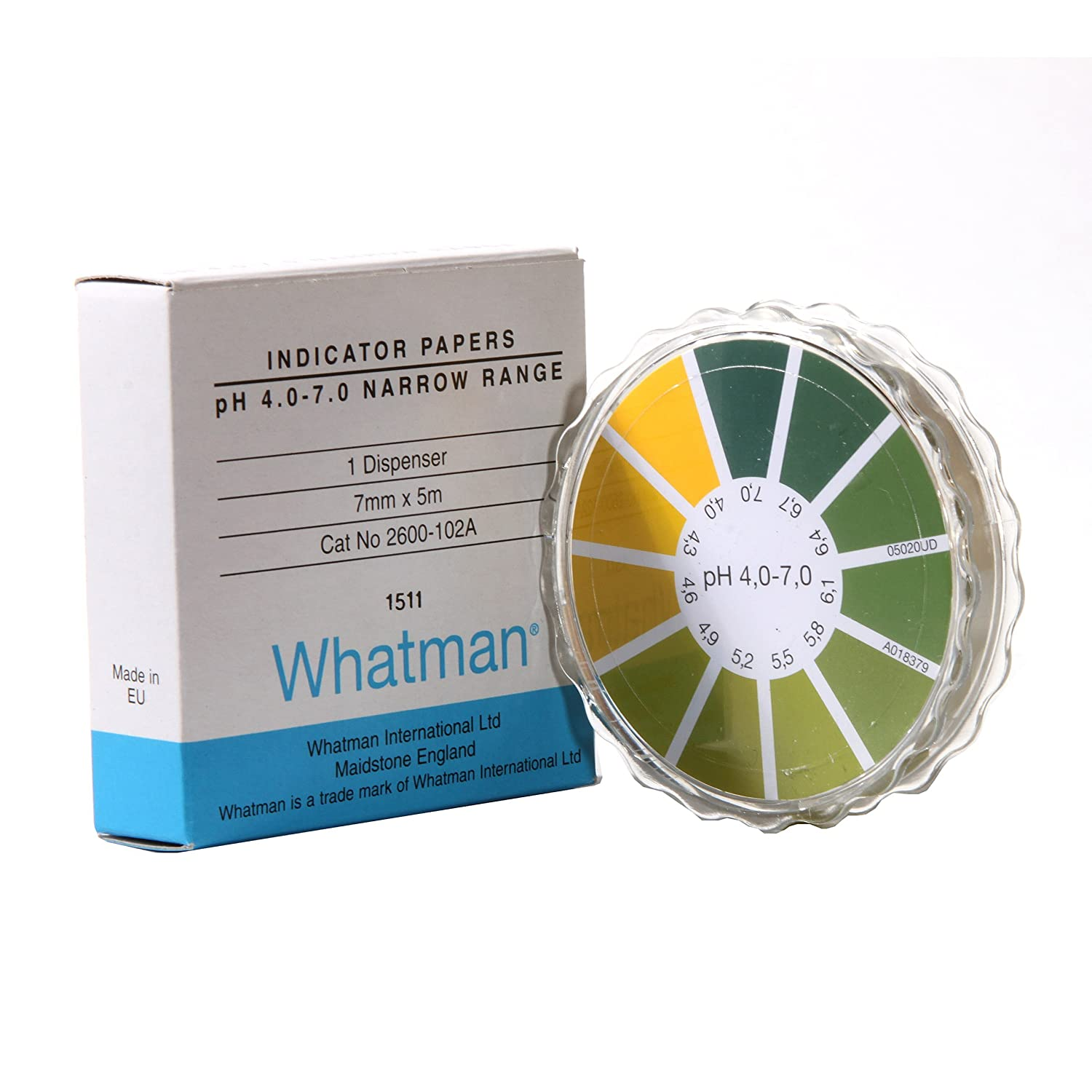 Whatman 2600103A Standard Narrow Reel pH Indicator, 6.4 to 8.0 Range 7 mm x 5 m and Test Papers Dispenser GE Healthcare