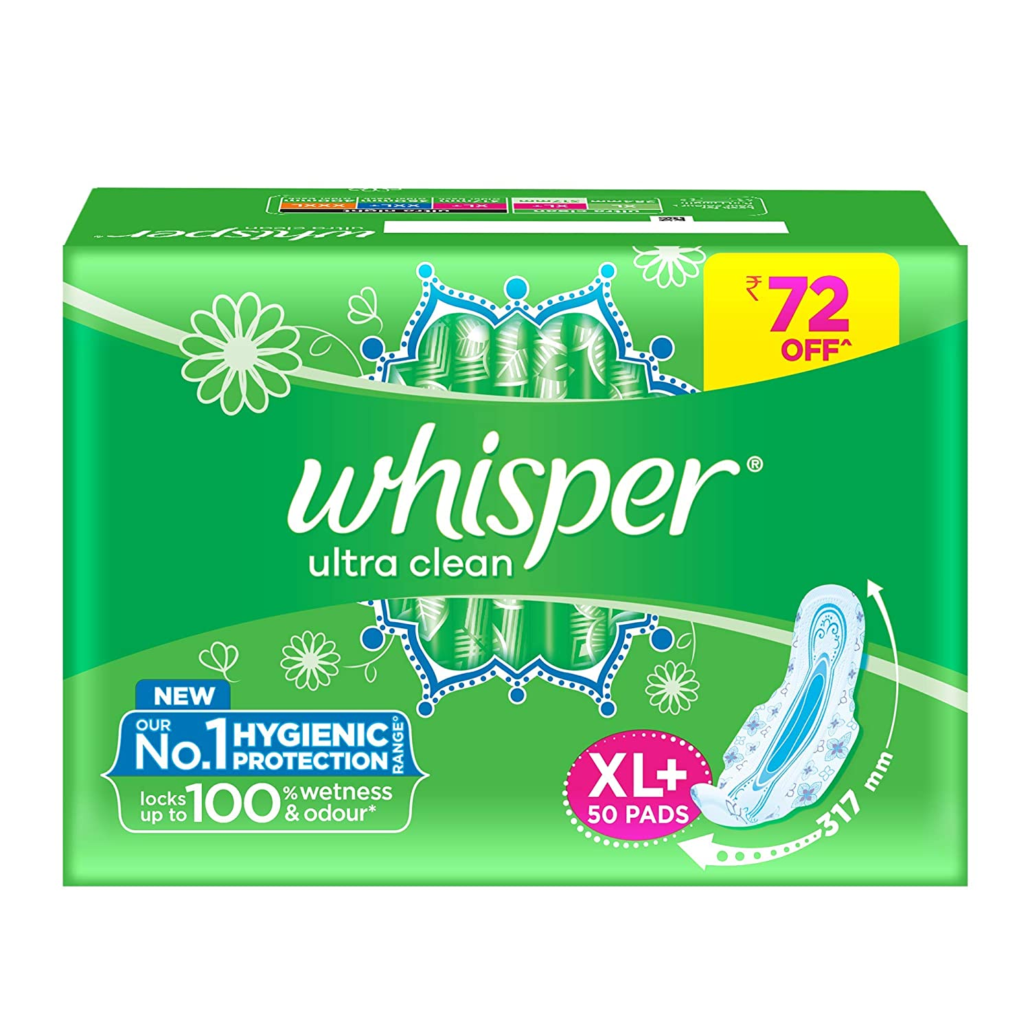 Whisper Ultra Clean Sanitary Pads for Women, XL+ 50 Napkins