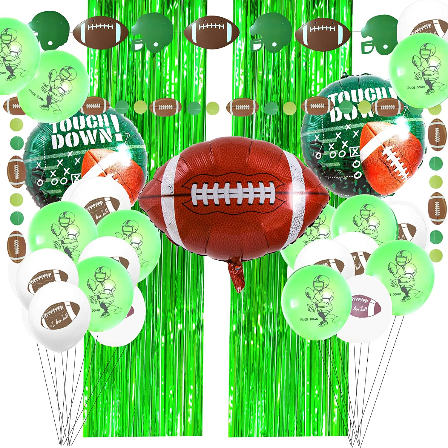 Game Day American Football Party Decorations Include Football Garland Banner,2 Green Foil Fringe Curtains(3.2'x8.3'),Football Balloons for Kids Boys Super Bowl Sport Theme Game Day Decorations