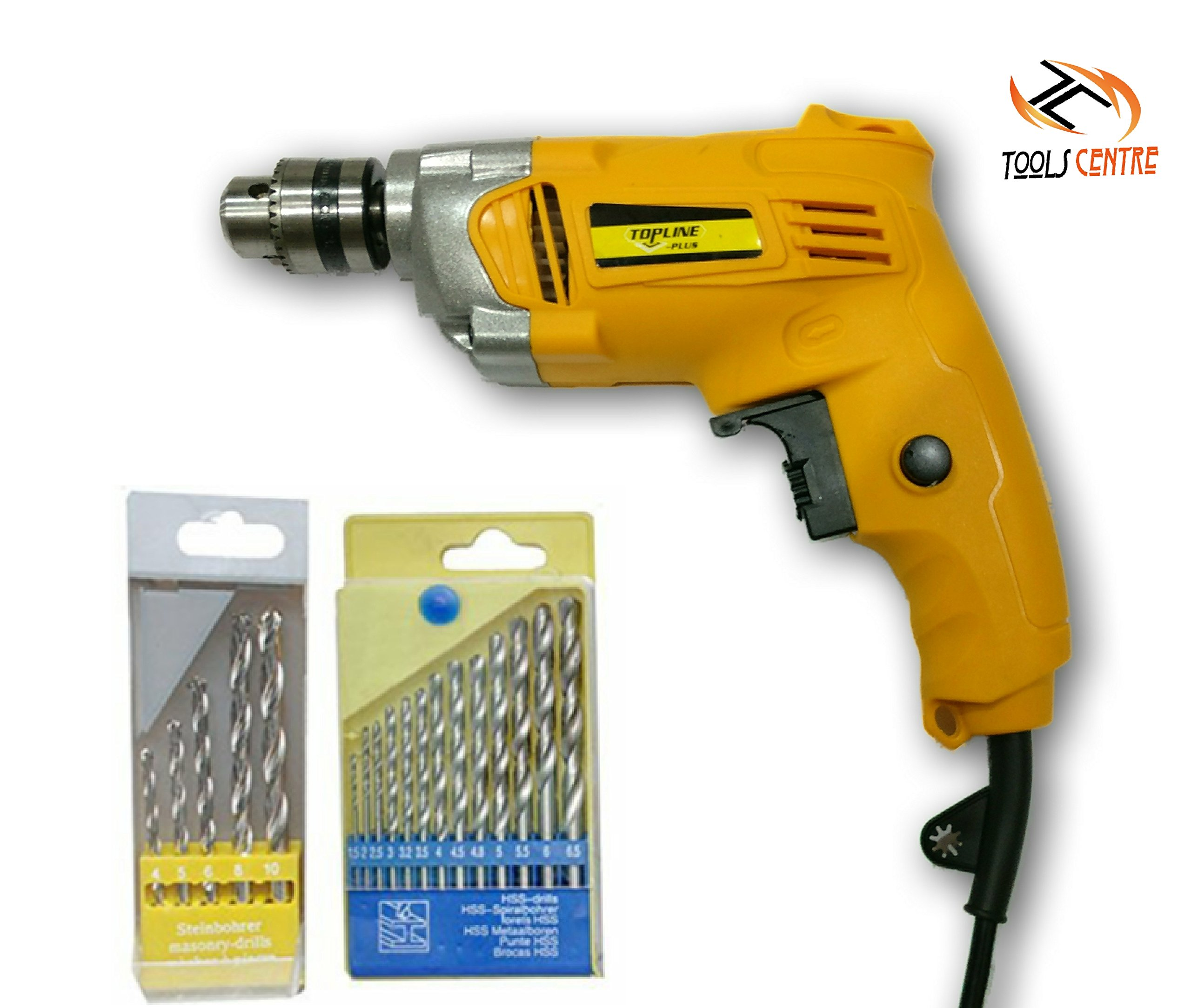 TOOLSCENTRE 10mm Half Metal body Drill Machine Reverse/Forward & Speed Control Facility With Drill Sets