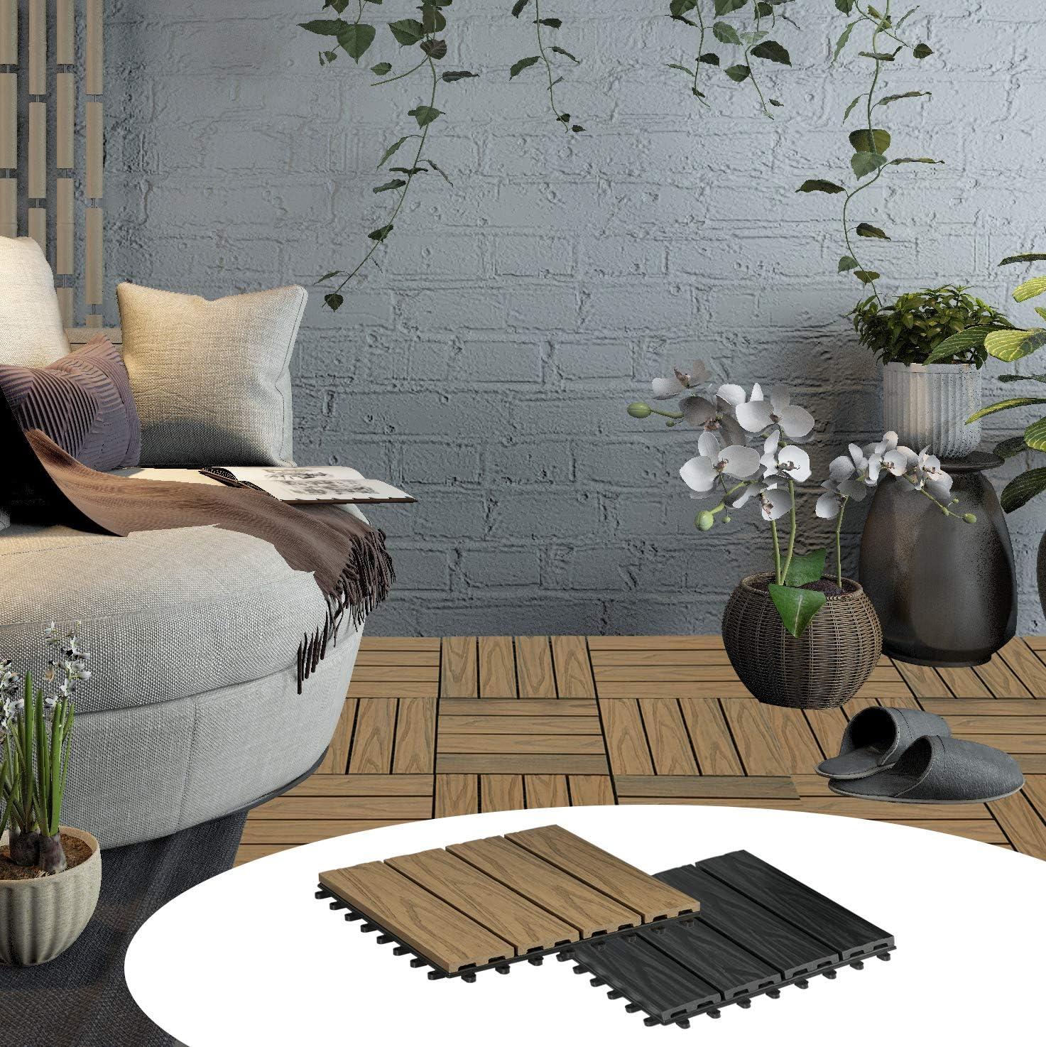 11er Set Garten Balkon Bodenbelag Terrassenfliesen Klickfliesen Zuschneidbar mit Stecksystem WPC Fliesen Klickfliese 3D Holzstruktur 1m/² Hellbraun Kinderleicht zu verlegen